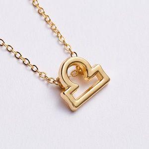 Gold Libra Zodiac Charm Necklace